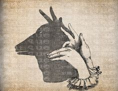 Antique Hand Shadow Animal Vintage Illustration Digital Download for Papercrafts, Transfer, Pillows, etc Burlap No 7343. $1.00, via Etsy.