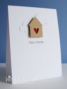 The Card Grotto: New Home.  Love the simplicity of this card with the white on white and small motif.