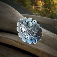 Sealife Ring  Silversmithed Hammered Labradorite by LilyBlonde