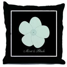 Cute Mint Flower Throw Pillow #mint