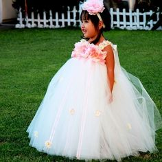 Ivory Tutu Flower Girl Dress with Pink Flowers