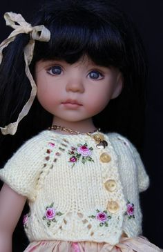 """Handmade Embroidered Knit Outfit for Effner 13"""" Little Darling Dolls"""