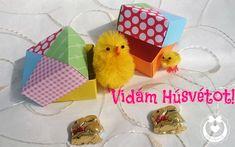 Patchwork dobozkákkal kívánok vidám Húsvétot! Origami, Gift Wrapping, Gifts, Scrappy Quilts, Paper Wrapping, Presents, Wrapping Gifts, Origami Paper, Gifs