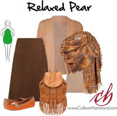 Relaxed Pear The subtle pattern in the crocheted cardigan plus its lighter color draw the eye, and the plaid weave blanket scarf works to not only bring attention to your face, but keep you warm! The slight diagonal in the suede skirt helps the eye flow down to the amazing loafers.
