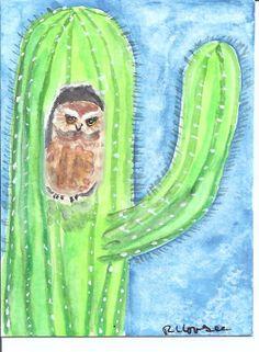 Gallery - Saguaro Cactus and Elf Owl Animal Projects, Art Projects, Elf Owl, Cactus Plants, Cacti, South Of The Border, Desert Art, An Elf, Mexican Art