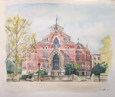 Brown University Original Watercolor Painting