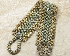 SUPERDUO HERRINGBONE BRACELET Turquoise by CinfulBeadCreations