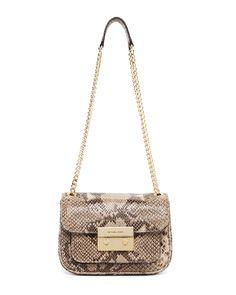 MICHAEL Michael Kors Sloan Small Python-Embossed Shoulder Bag ,Angora