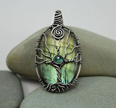 "wire wrap stones | Wire Wrapped Beads / ""tree of life"" pendant on labradorite... awesome!"