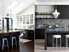 I love my grey kitchenbut wow, amIobsessed with the idea of a black kitchen! I love how surprisingly clean pitch black cabinets can make a space look, especially with the addition of brass hardware and the contrast of white walls or countertops. These photos are definitely going intomy