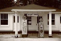Route 66 - Soulsby Station Pumps. Vintage gas station on old Rt. 66 in Mt. Olive, Illinois.