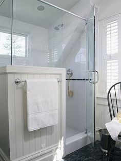 Small Bathroom 1: Glass Shower Stall  Light in shower, half wall for towel hanger