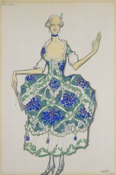 Design for 'Felicita' in 'The Good Humoured Ladies', Leon Bakst, 1917. Museum no. S.341 -1988