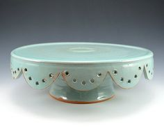 Wedding Cake Stand with Scalloped Edge & Robins Egg Blue Glaze. Pottery by Rhyno Clayworks, $68.00 #Ceramic #Stoneware #Handmade