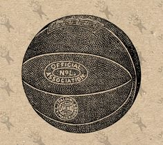 Vintage Basketball Ball Black And White Image Instant Download Digital Printable Picture Clipart Graphic
