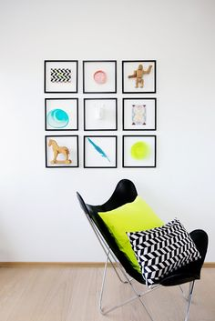 Bright, quirky, modern gallery wall