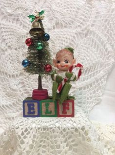 "Vintage Alphabet Blocks ""Elf"" Christmas Bottle Brush Tree Knee Hugger in Collectibles, Holiday & Seasonal, Christmas: Modern (1946-90), Other Modern Christmas | eBay"