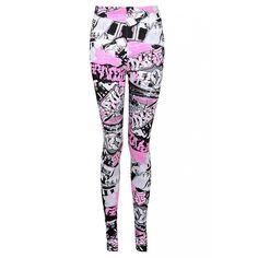 Black Graffiti Print Leggings ($6.23) ❤ liked on Polyvore featuring pants, leggings, bottoms, pantalon and legging pants