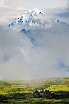 Misty morning on the Chinchero Plateau, Peru