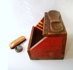 Wooden Shoe Shine Box  Shoe Shine Kit  Home Made  by MyOtherMind, $48.95