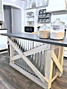 **I like this idea on back of bar not island ** Best Rustic Farmhouse Kitchen Cabinets in List Kitchen Decor Rustic Kitchen Island, Refacing Kitchen Cabinets, Farmhouse Kitchen Cabinets, Country Kitchen, Kitchen Islands, Kitchen Backsplash, Glass Cabinets, Kitchen Cabinets Island, Small Rustic Kitchens