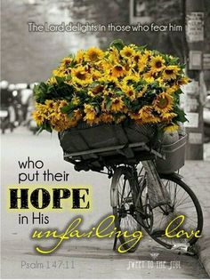 Psalm 147:11 ~ The Lord delights in those who fear Him, who put their hope in His unfailing love.