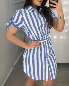 Striped Beaded Detail Shirt Dress Weafall fashion 2019 trends Tights,fall fashion trends New,fall fashion trends Ralph Lauren,fall fashion trends Casual Dresses, Fashion Dresses, Shirt Dress, Blouse, Blazer Dress, Pattern Fashion, Designer Dresses, Cute Outfits, Short Sleeve Dresses