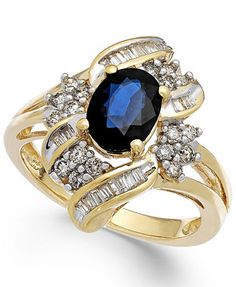 Sapphire (1-3/8 ct. t.w.) and Diamond (1/2 ct. t.w.) Ring in 14k Gold