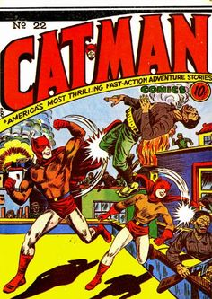 Catman Comics numéro 22 (1943) avec le héro Catman et son acolyte Kitten ! PopCulture geek Comics chat Golden Age