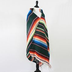 vintage mexican handwoven serape forest green by VeraLyndon on Etsy