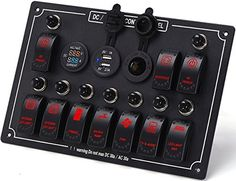Amazon.com : DCFlat 4/6/8/10 Gang Circuit LED Car Marine Waterproof 5 Pin Boat Rocker Switch Panel with Fuse Dual USB Slot LED Light + Power Socket Breaker Voltmeter for RV Car Boat (10 Gang Overload Protection-) : Sports & Outdoors