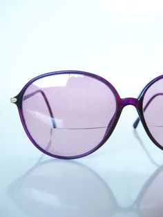Vintage Neon Purple Glasses 1970s Sunglasses Magenta Lilac Oversized Round Gold 70s Indie Hipster Grunge Chic Glam Rocker Bright Colorful
