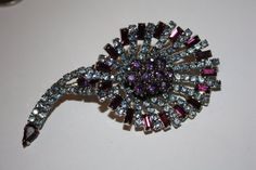 Vintage Hobe Brooch Purple Rhinestone 1950s Jewelry by patwatty, $30.00