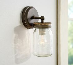 Add style to any room with expertly crafted and designed wall sconces from Pottery Barn. Shop glass, metal and wood wall lights and lamps to complete your look. Mason Jar Sconce, Mason Jars, Jar Chandelier, Glass And Aluminium, Brass Sconce, Outdoor Sconces, Galvanized Metal, Canning Jars, Wall Sconces