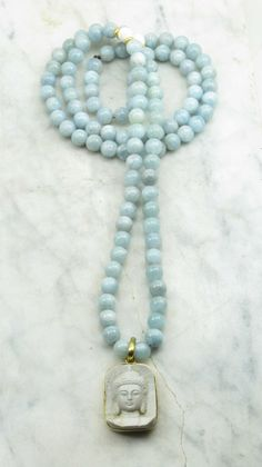 Serenity Mala Necklace Aquamarine Mala Beads by SaltSpringMalas