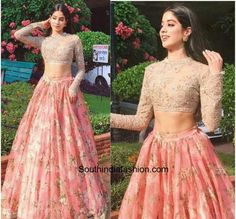 Jhanvi Kapoor was recently seen in a pink floral lehenga skirt teamed up with an embellished crop top by Sabyasachi. Indian Fashion Trends, Indian Fashion Dresses, Indian Designer Outfits, India Fashion, Fashion Outfits, Style Fashion, Designer Dresses, Designer Kurtis, Fashion Top