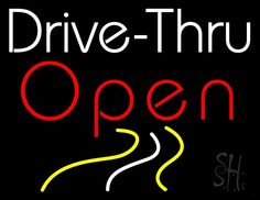 Drive Thru Red Open Neon Sign 24 Tall x 31 Wide x 3 Deep, is 100% Handcrafted with Real Glass Tube Neon Sign. !!! Made in USA !!!  Colors on the sign are Red, White and Yellow. Drive Thru Red Open Neon Sign is high impact, eye catching, real glass tube neon sign. This characteristic glow can attract customers like nothing else, virtually burning your identity into the minds of potential and future customers.