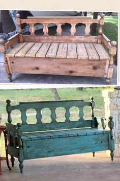 """My husband built this bench from his parent's old headboard.  I chalk painted with Junk Gypsy """"Wanderlust"""" and applied dark brown glaze and lots of sanding involved.  Definitely a learning technique for me. We love how this turned out."""
