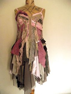 """Vintage Tattered Lace & Satin Deconstructed """"Naturally Bohemian"""" Dress."""