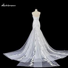 Deep V Neck Mermaid Wedding Dresses 2018 White Ivory Pearl Court Train wedding Gowns Custom Made robe de mariage  #bridalgowns #vintageweddingdresses #mermaidweddinggowns #mermaidbridalgowns #weddingdresses #beachweddingdresses