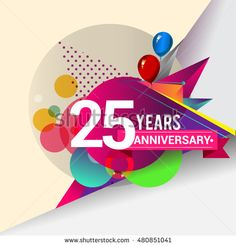 25 Years Anniversary logo with balloon and colorful geometric background, vector…