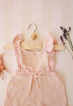 Vintage Baby Dress in Pale Rose Knit 0-6 months by ElleBelleVin