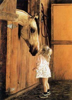 Caballo con niña pintura al óleo. Obras de Lesley Harrison de Estados Unidos. Cuadros de Arte Hiperrealista.