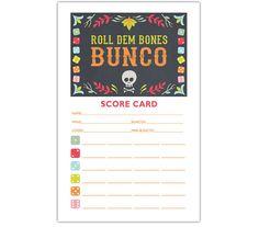 Roll Dem Bones Bunco  Printable Halloween or Dia De Los