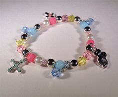 BEACH FASHION RHODIUM KIDS RAINBOW BEADED RELIGIOUS HOLY PRAY STRETCH BRACELET
