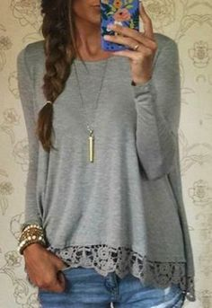 Lace Spliced Gray Shirt