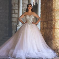 High Quality Shining Beading Corset with Sheer,Long Sleeves Ball Gown Wedding Dresses 2016,Plus Size Tulle Wedding Gowns XW6