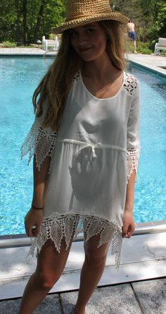 Island Cotton Cover up with Lace trim. Perfect cover up or dress. Love it!