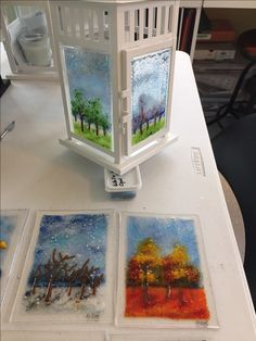 Work by Annie Dotzauer. I started to make lanterns for friends. This one has the four seasons on it.