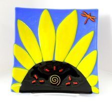 NEW Hand Created Fused Glass Yellow Sunflower Plate Home Decor Dragonfly